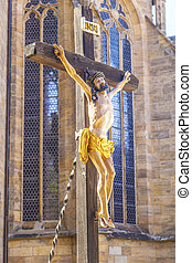 Jesus on the cross at the dome in Erfurt - The Crucifixion -...