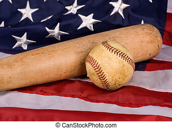 Old Baseball and Bat with American Flag - Old baseball and...