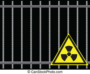 Grate Radioactive Sign - Steel reinforcing rods of the grill...