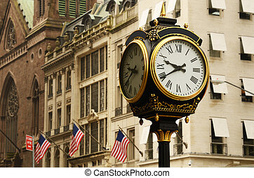 Manhattan Street Scene - old clock on the avenues of new...