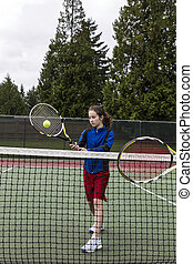 Tennis Backhand Volley for Lefthand Player - Young girl...