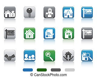 real estate icon,square button series - isolated square...
