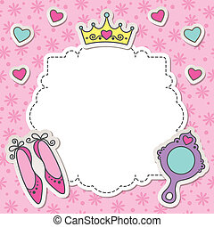 princess frame with cartoon shoes, mirror and crown