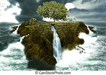 tree island in the ocean with waterfalls