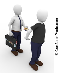 Bribe man2 - A man is giving a bribe to another man Concept...
