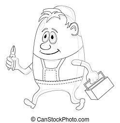 Worker with pliers, contour - Worker, cartoon character, man...
