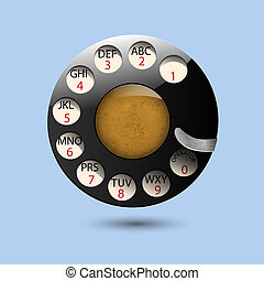 Disc dials of old retro phone.Realistic vector