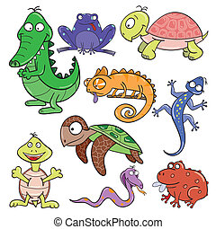 Reptiles and amphibians doodle icon set - Hand-drawn cute...