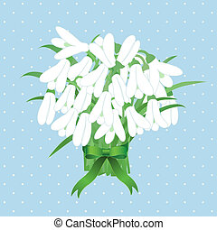 Spring snowdrop flowers with green