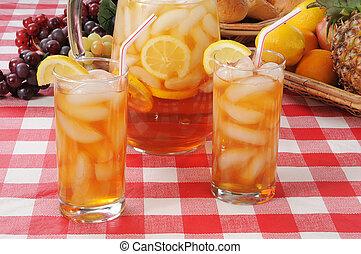 verano, refrescos, helado, té