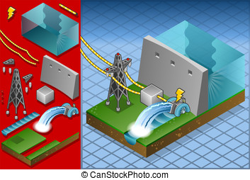 Isometric watermill in production - Detailed animation of a...