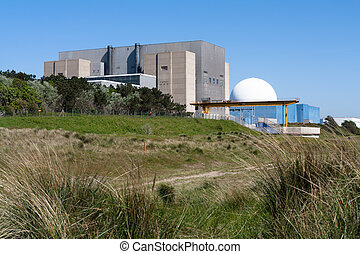 Sizewell A and B Nuclear Power Stations, Suffolk, UK. -...
