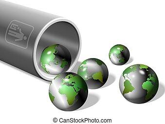 earth in rubbish bin - an illustration of a rubbish bin...