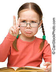 Sad little girl showing quot;Victoryquot; gesture - Cute...