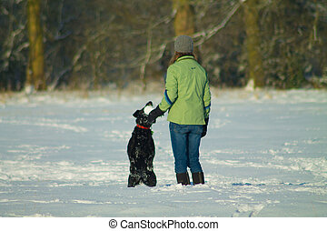 Woman and dog in snow Stock photo - black labrador playing...