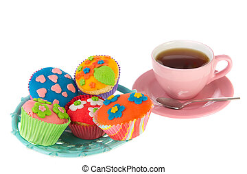 Home made cupcakes - Colorful home made cupcakes with...