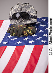 Fallen soldier - Military funeral - helmet and gloves on the...