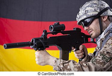 German soldier with machine gun