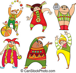 Circus Actor Set - Set of cheerful circus actors in bright...