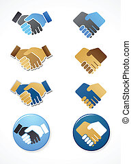 collection of handshake icons and elements - collection of...