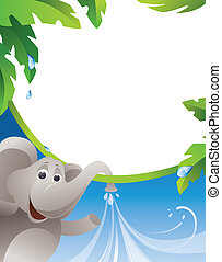 Frame with elephant and water jets