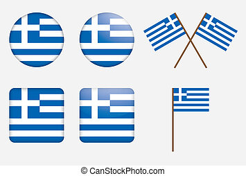badges with flag of Greece illustration
