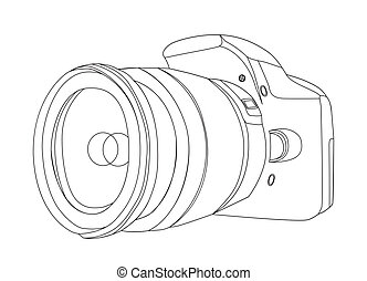 digital camera - silhouette of digital camera vector...