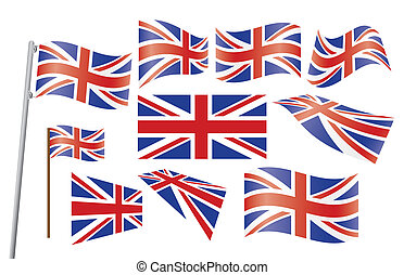Union Jack - set of Union Jack flags vector illustration