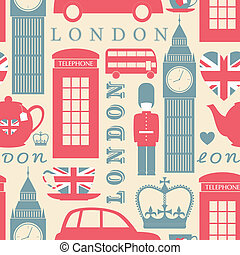 London Background - Seamless pattern with London symbols