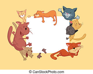 Cats around the frame