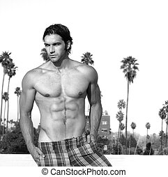 Sexy hunk in black and white