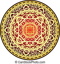 oriental red & gold rug - Vector illustration of oriental...
