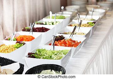 Buffet arrangement of fresh salads