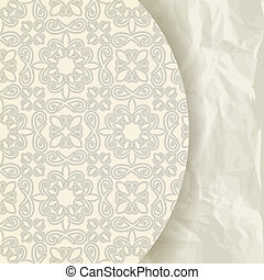 vector floral pattern on crumpled paper texture, retro...