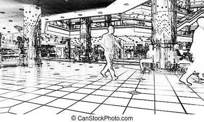 shopping center - people walking at the mall