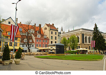 The area of ??the old town of Riga - The central tourist...