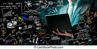 Businessman and new ideas - Businessman at work with ne...
