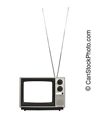 Vintage Portable TV with Long Antennas Isolated