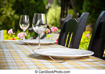 Outdoor restaurant dining table Place setting