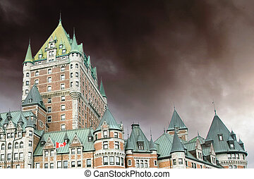 View of old Quebec and the Chateau Frontenac, Quebec, Canada...