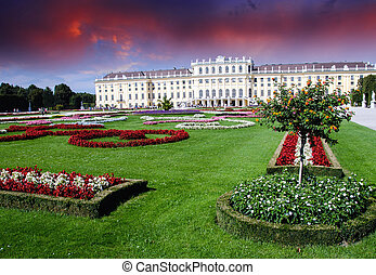 Gardens and Flowers In Schoenbrunn Castle, Vienna - Gardens...