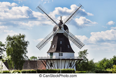 viento, molino, egeskov, Fyn, Dinamarca