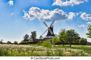 Wind mill in Egeskov, fyn, Denmark - Wind mill in Egeskov,...