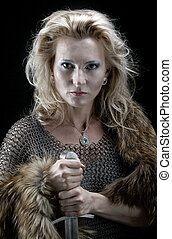 Viking girl with sword - Valkyrie.Viking girl with sword
