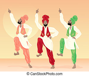 punjabi dancing - an illustration of three male punjabi...