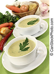 vegetable creme soup - two cups of vegetable creme soup with...