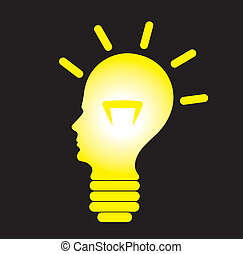 Human head as bulb, concept of problem solving - Human head...