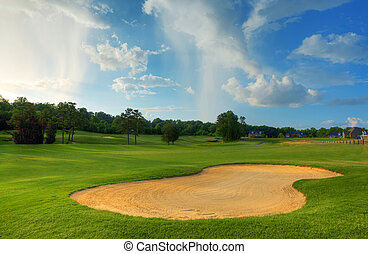 Golf Course - North Carolina golf course with clouds and...