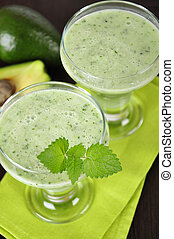 Avocado smoothie with mint leaves Healthy drink