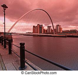 Millenium Bridge Newcastle - Dusk over the Millenium bridge...